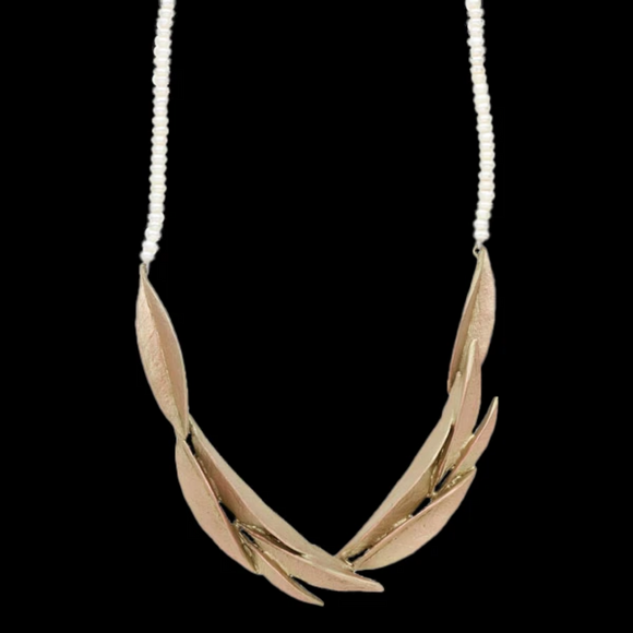 golden ash leaf necklace string of pearls