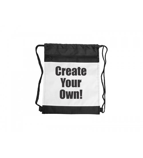 Drawstring Backpack with Black Trim - Add Photos
