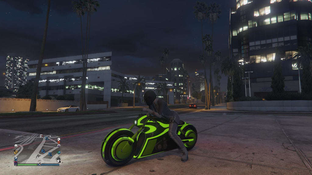 Screenshot of green Tron inspired outfit/bike from GTA V - twitch.tv/parischolland