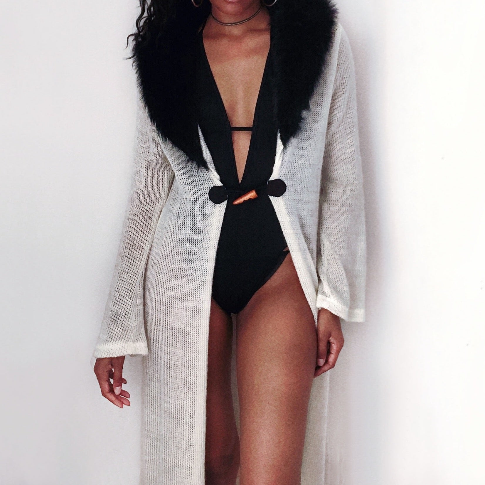 Creme fur trim long cardigan