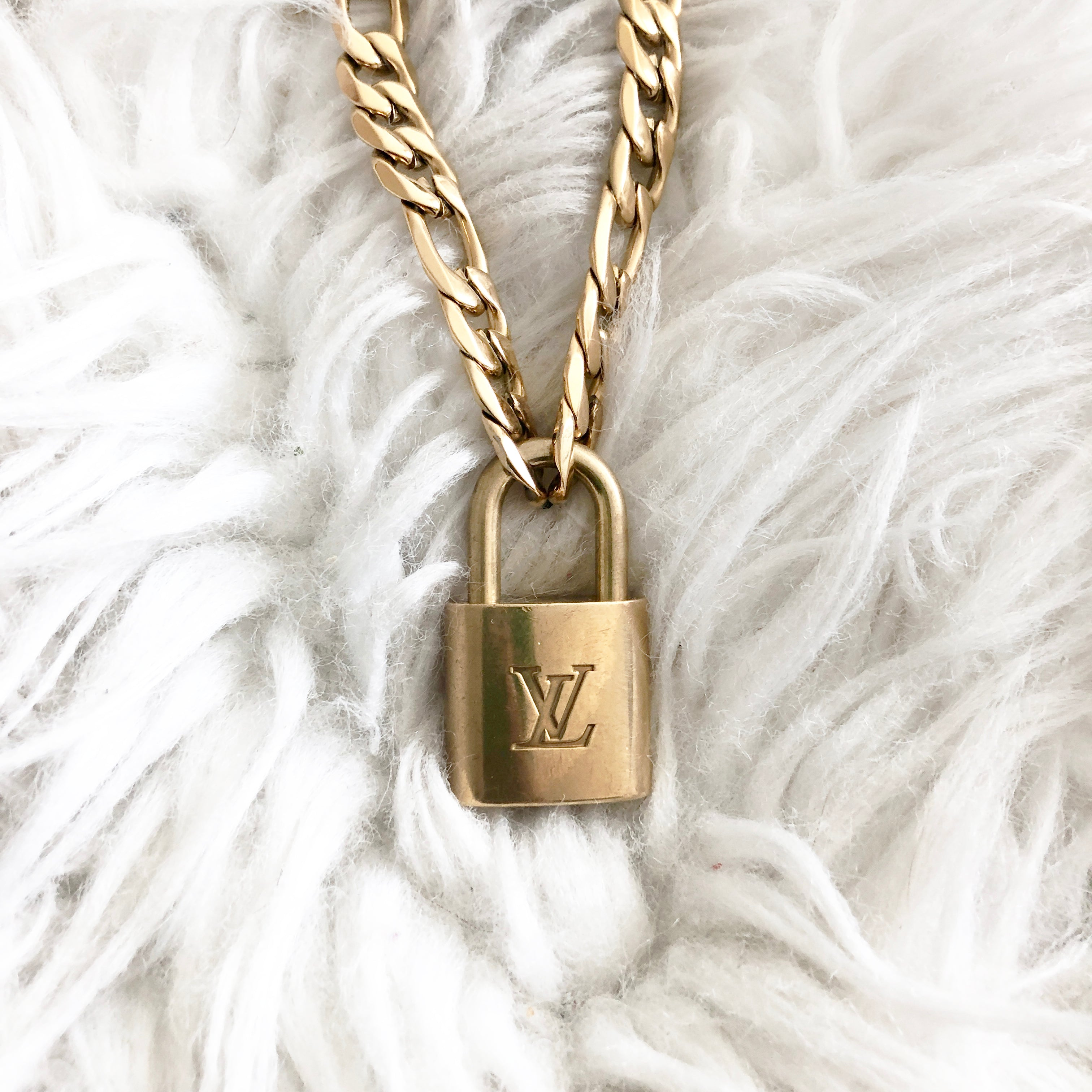 Repurposed LV Speedy padlock necklace