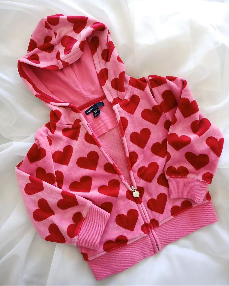Baby Gap velour hearts jacket