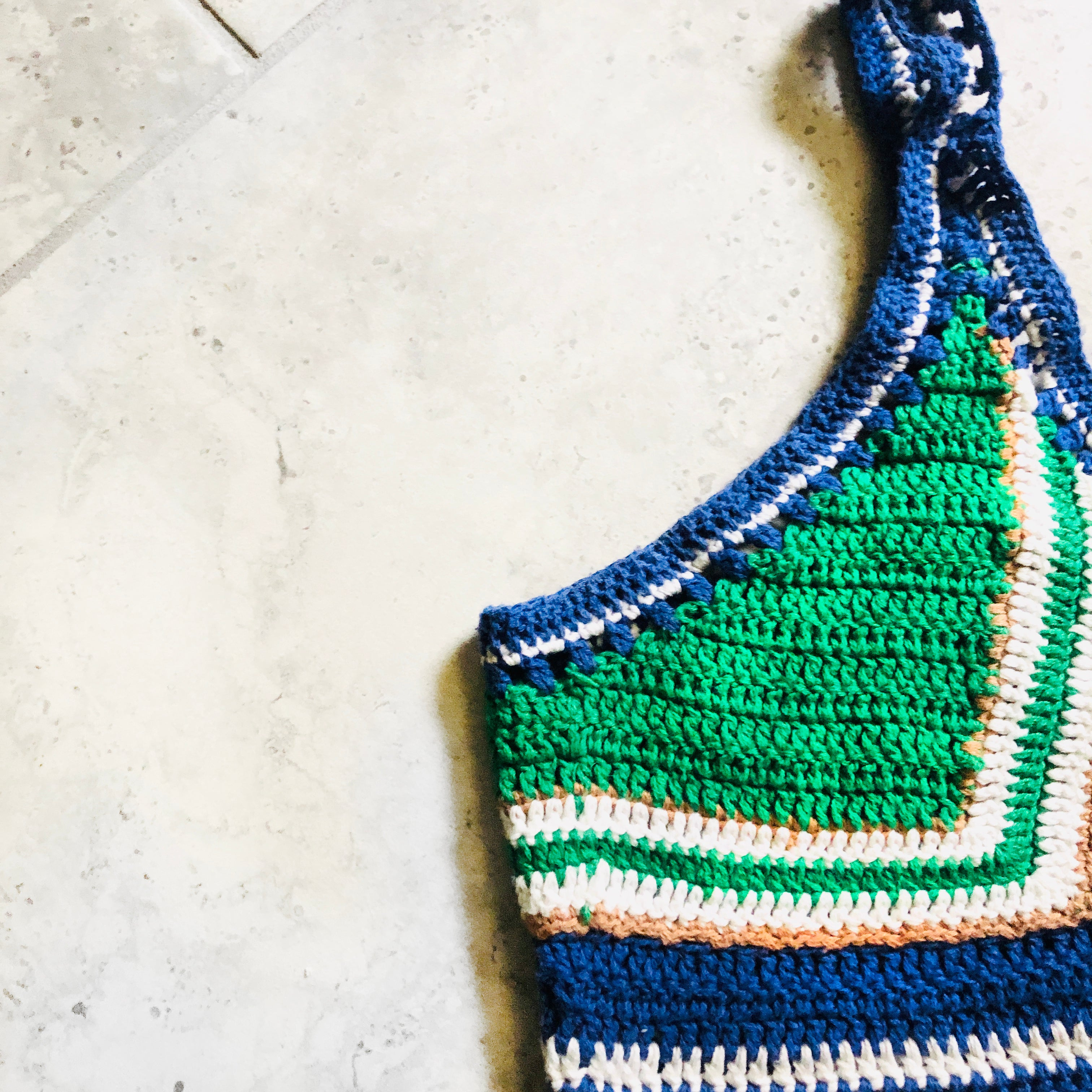 Crochet blue green & white cropped top