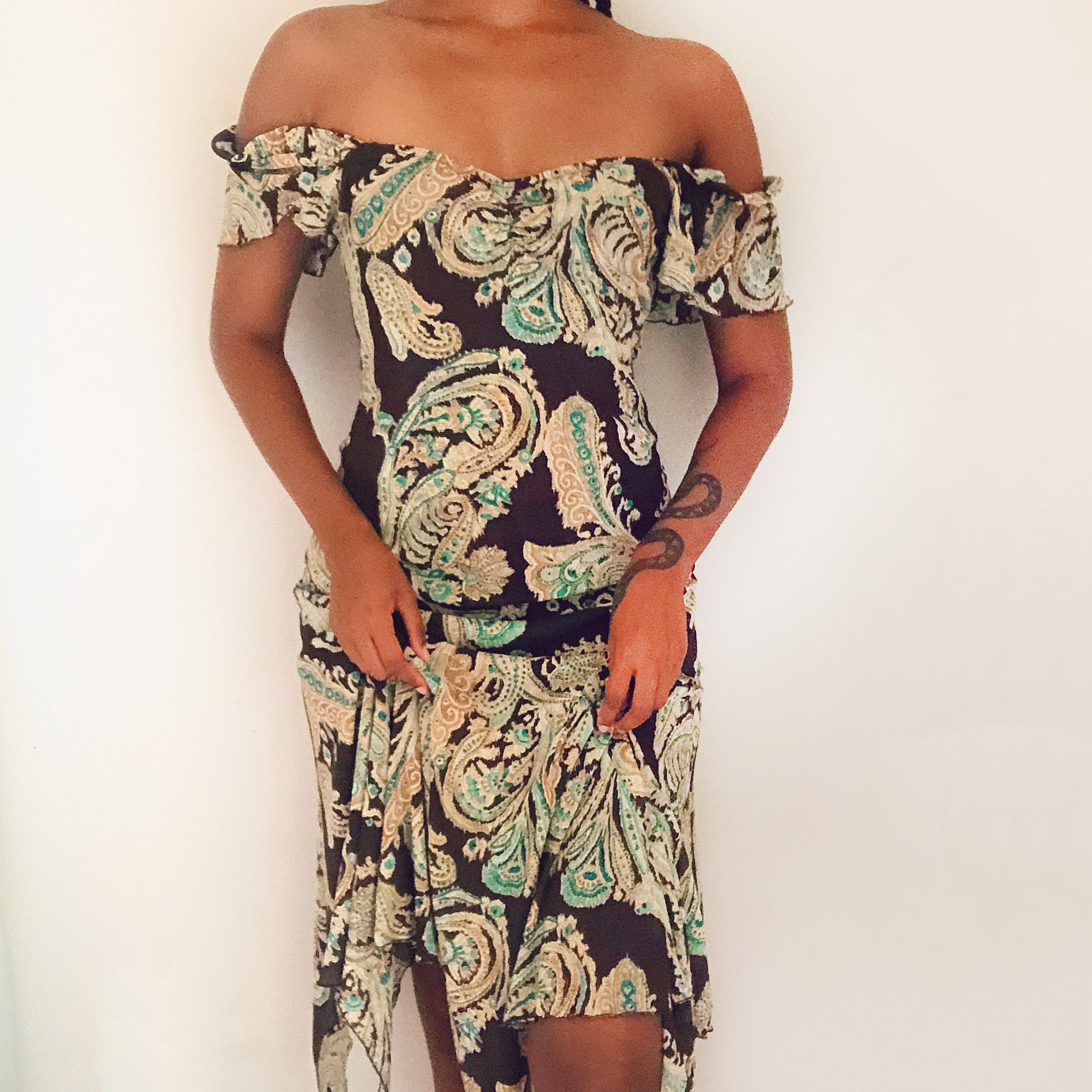 Y2K brown paisley boho dress