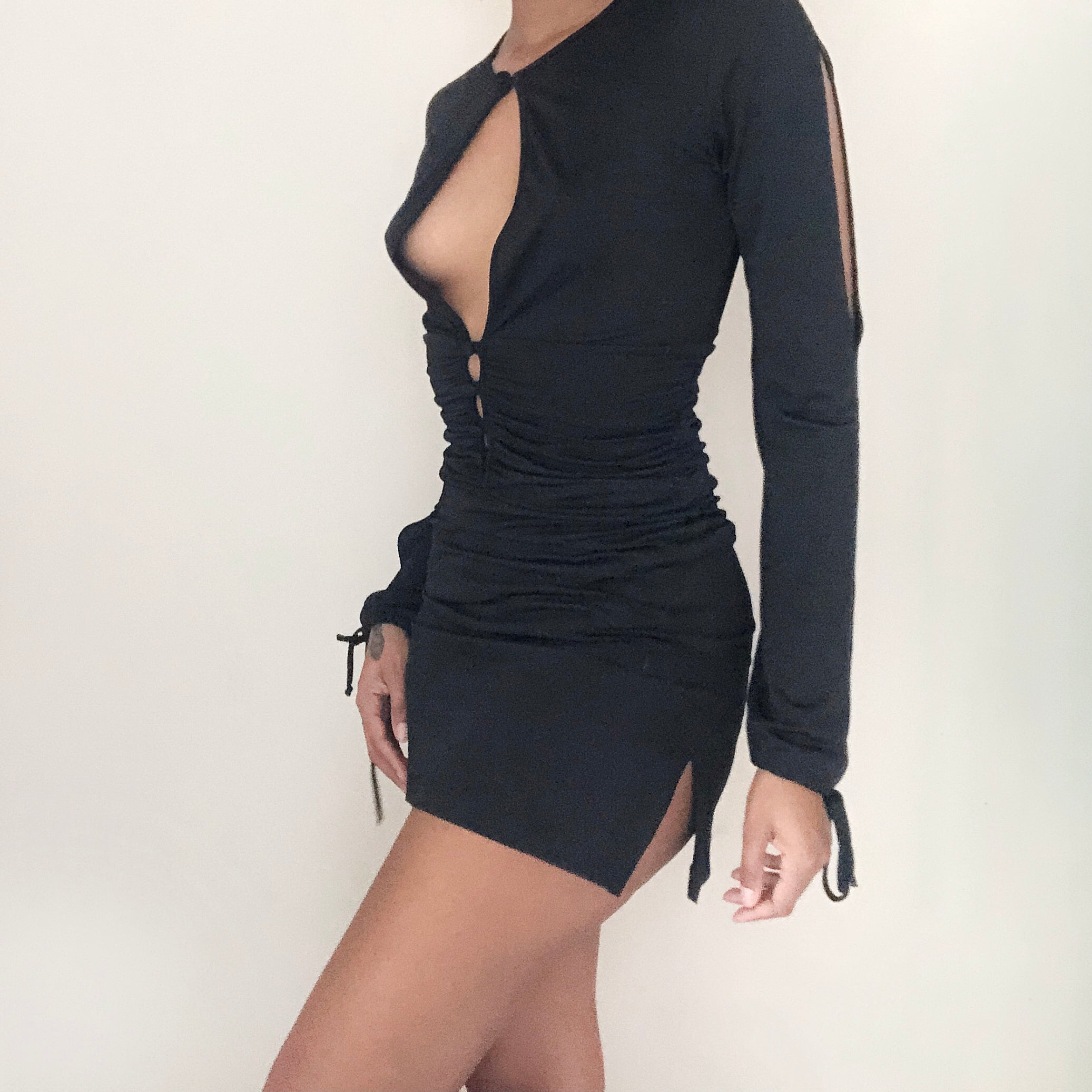 Baby Phat black cut out longsleeve dress