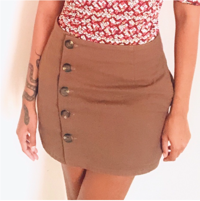 Coffee brown button up skirt
