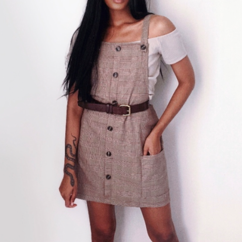Brown button up pinafore
