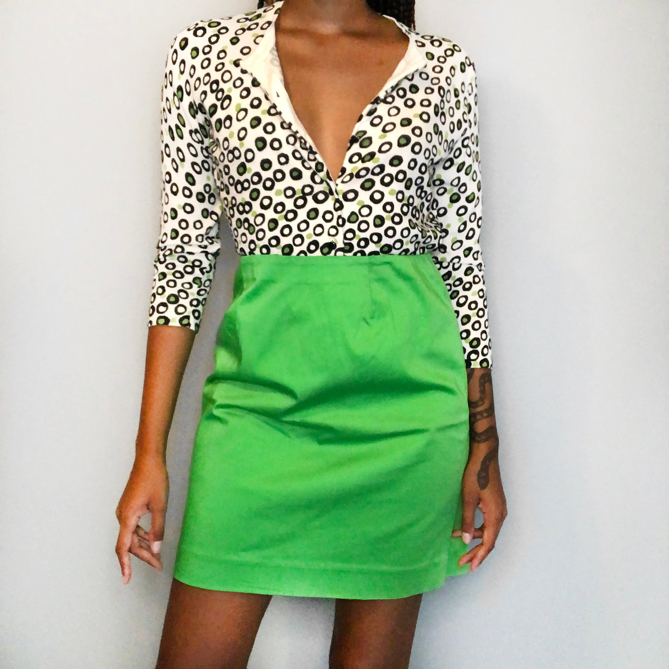 Lime green dotted cardigan