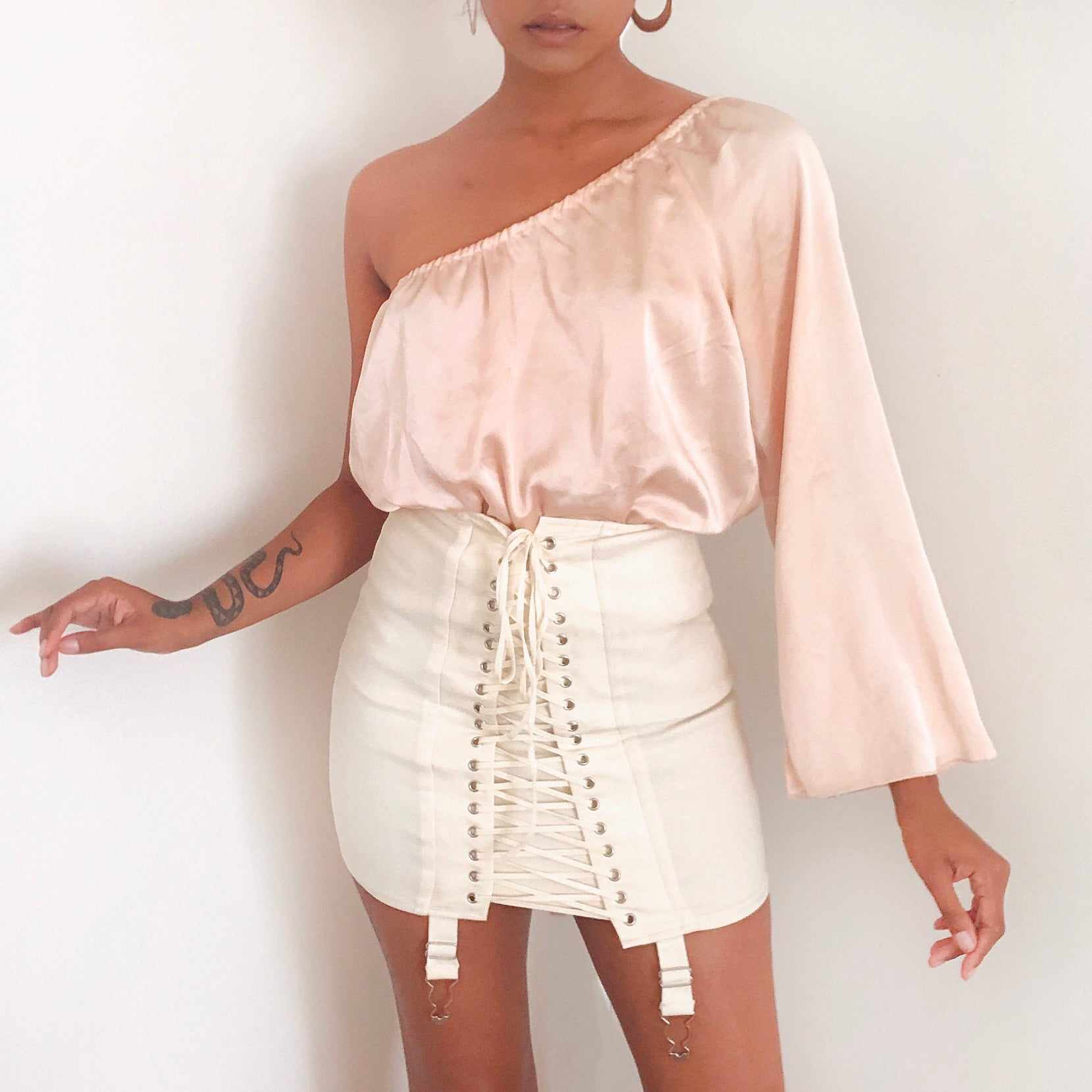Peachy asymmetrical top