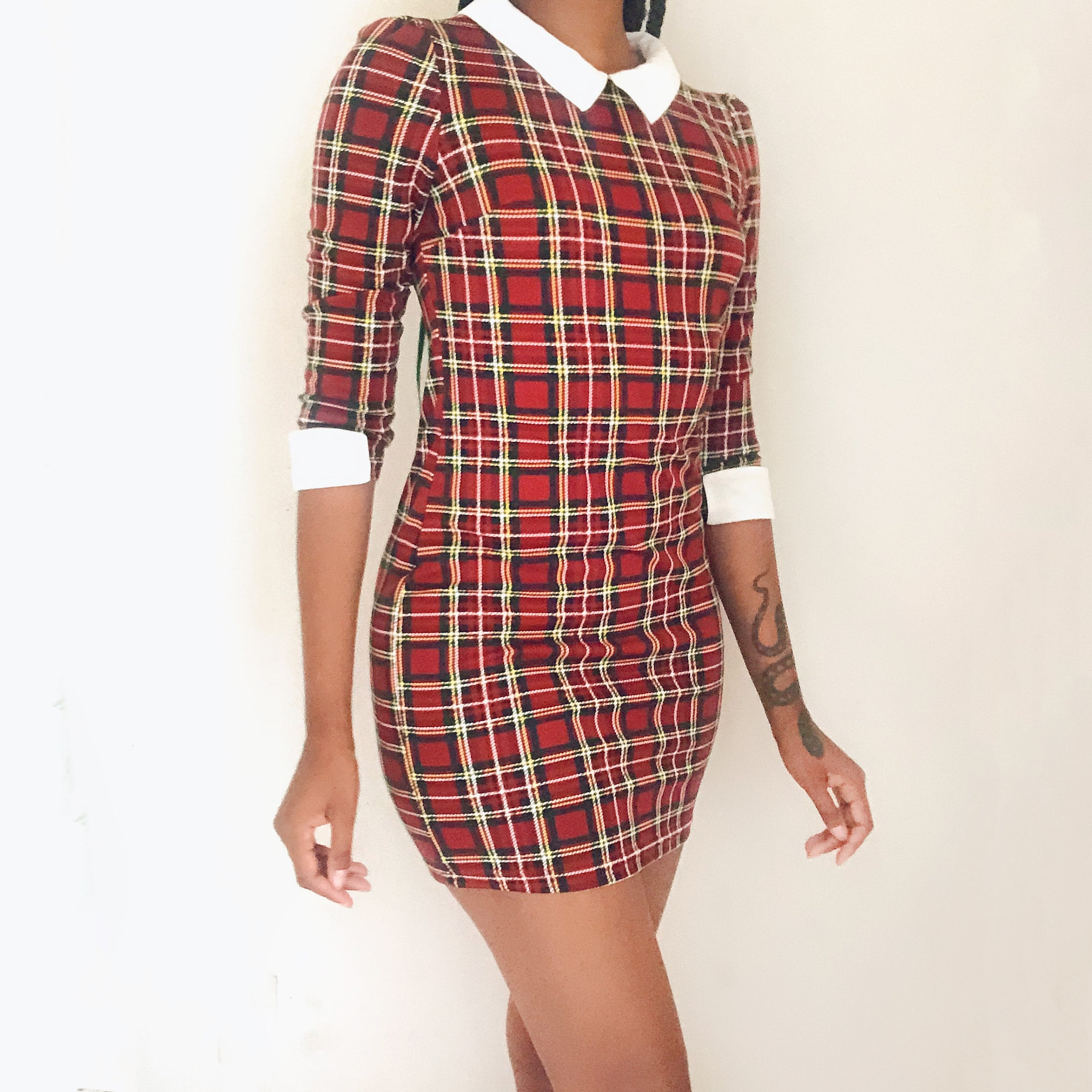 Red tartan peter pan collared dress