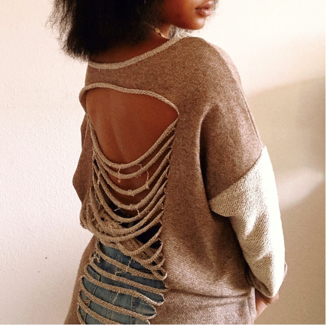 Knitted & Shredded longsleeve