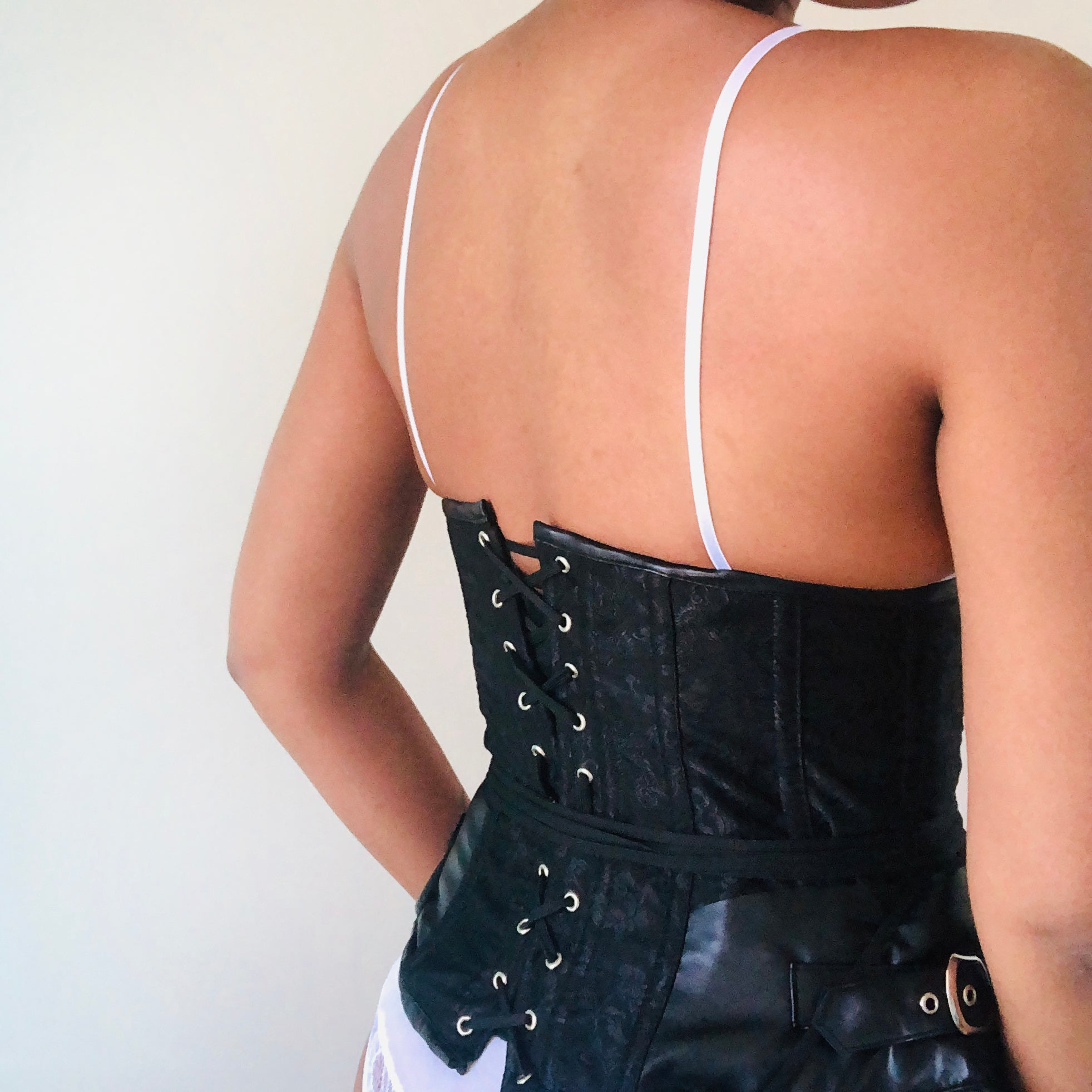 Steampunk black buckled corset