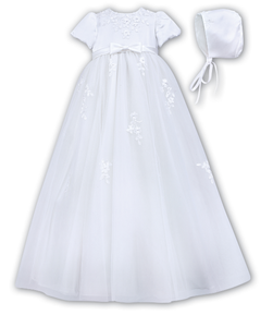 Sarah Louise Christening Robe & Bonnet - White