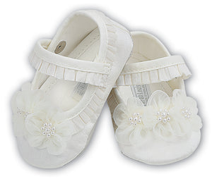 Sarah Louise Girls Christening Shoes - Ivory