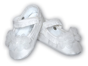 Sarah Louise Girls Christening Shoes - White