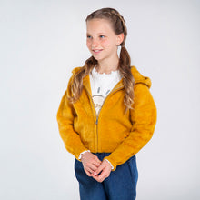 Load image into Gallery viewer, Mayoral Knit And Faux Fur Hoodie For Girls - Mustard