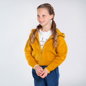 Mayoral Knit And Faux Fur Hoodie For Girls - Mustard