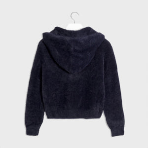 Mayoral Knit And Faux Fur Hoodie For Girls - Navy