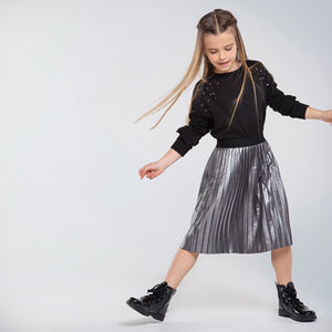 Mayoral Pleated Suede Skirt For Girls - Black