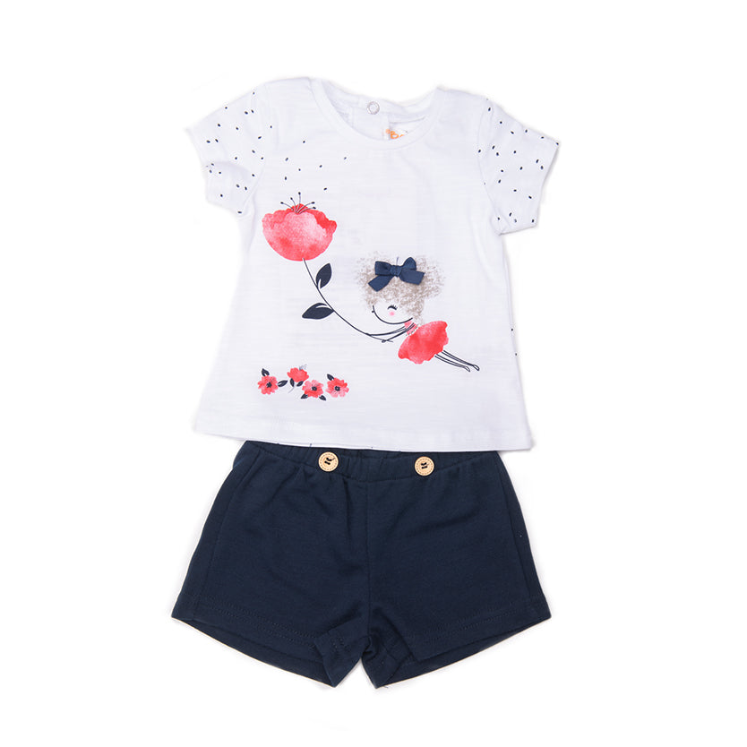 Babybol Girls Navy Shorts & T-Shirt Set