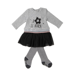 Babybol Girls Gret Jersey Long Sleeve Dress With Tutu & Matching Tights