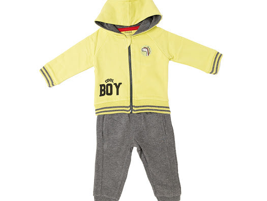 Babybol Boys Lime Green Hoodie And Dark Grey Joggers