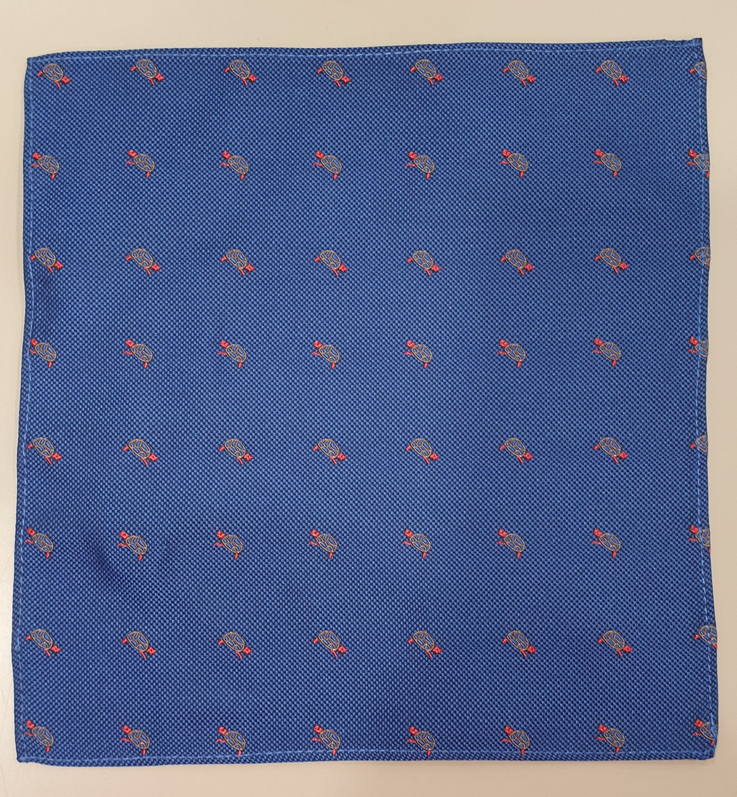 One Varone Boys Pocket Square - Navy With Turtle Motif