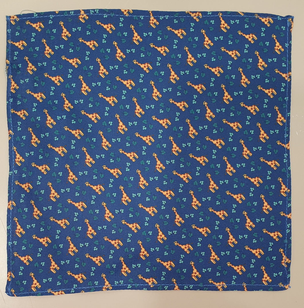 One Varone Boys Pocket Square - Blue With Giraffe Motif