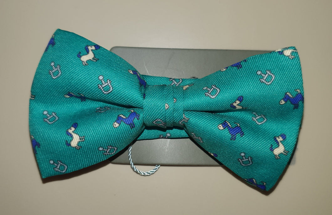 One Varone Boys Bow Tie - Green With Horse Motif
