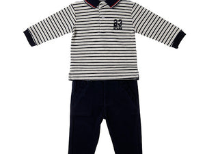 Babybol Boys Long Sleeve Rugby Top With Navy Chinos