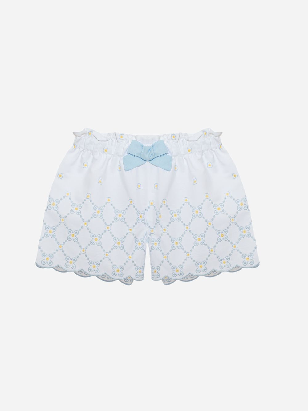 Patachou Cotton Poplin White With Floral Embroidery Shorts