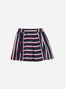 Patachou Cotton Poplin Navy Skirt With White And Red Stripes