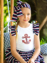 Load image into Gallery viewer, Patachou Cotton Poplin Navy Skirt With White And Red Stripes