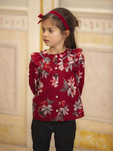 Load image into Gallery viewer, Patachou Girls Exclusive Red Flower Print Blouse