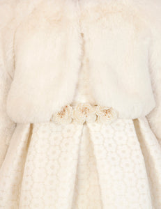 Abel & Lula Short Faux Fur Jacket Ivory