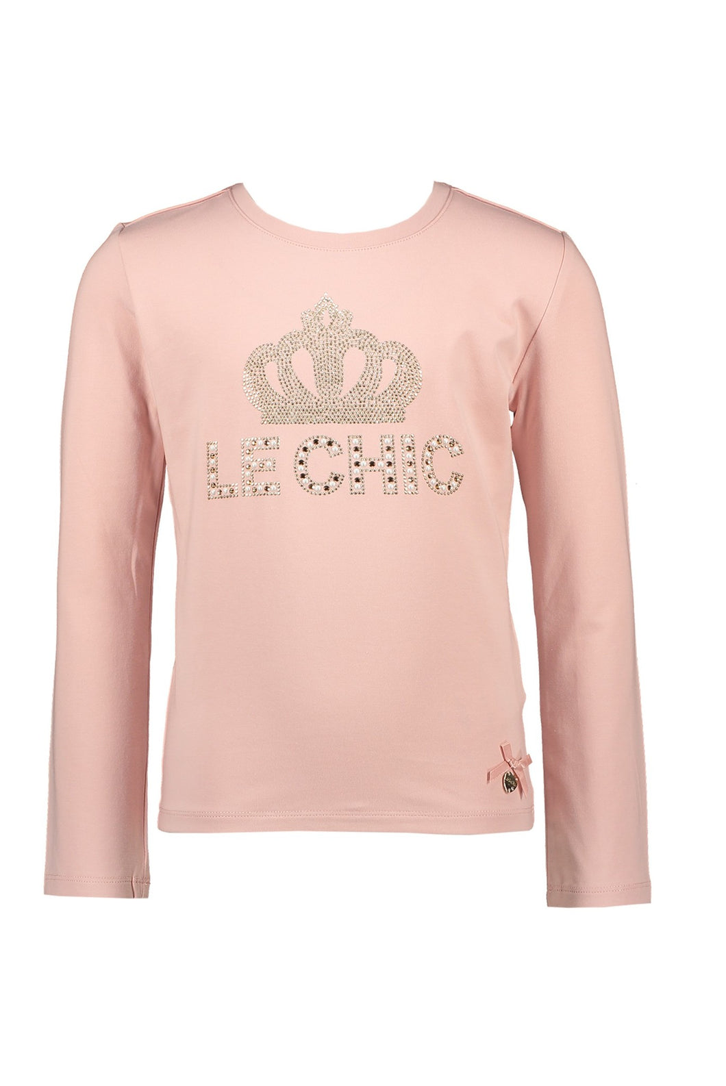 Le Chic Girls Long Sleeve Crown Logo T Shirt - Rose