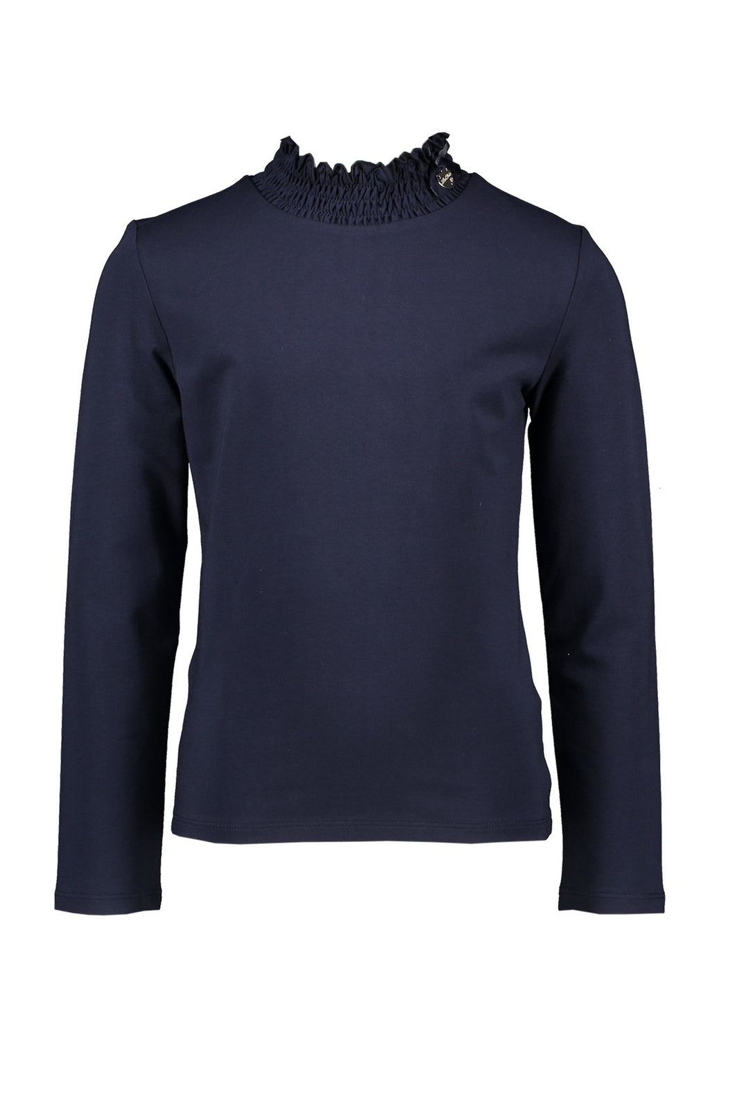 Le Chic Girls Navy Long Sleeve T-Shirt With Smock Collar