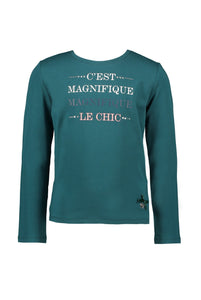 Le Chic Girls Deep Teal Long Sleeve C'est Magnifique T-Shirt
