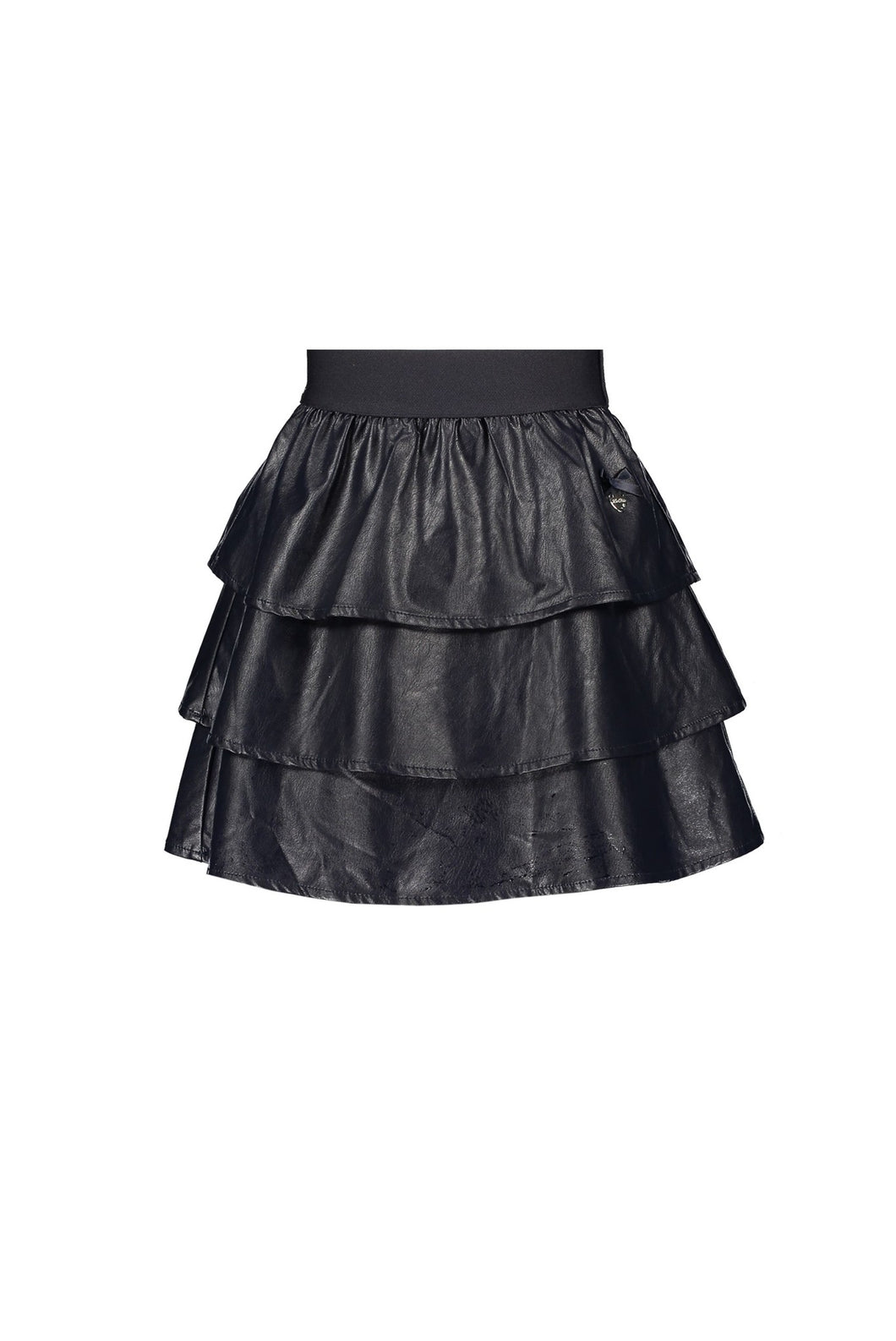 Le Chic Girls Navy Faux Leather Skirt