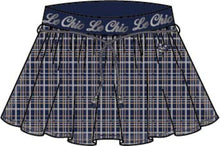 Load image into Gallery viewer, Le Chic Girls Navy Sparkly Checked Skirt