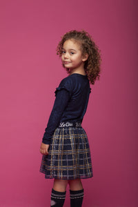 Le Chic Girls Navy Sparkly Checked Skirt