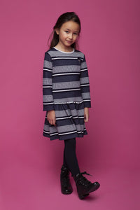 Le Chic Girls Navy Stripe Dress