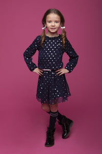 Le Chic Girls Navy And Sliver Hearts Dress