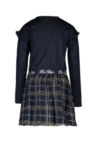 Le Chic Girls Navy and Gold Sparkly Checked Dress