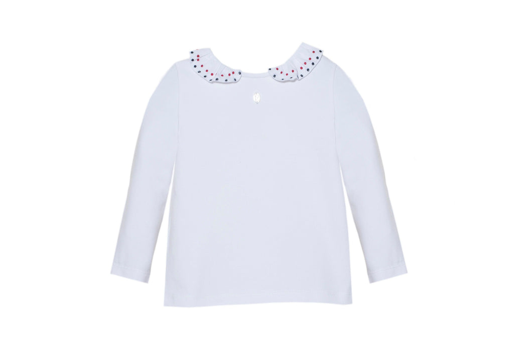 Patachou White Long Sleeve Tee With Collar