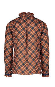 NONO Girls Orange and Navy Checked Shirt