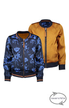 Load image into Gallery viewer, NONO Girls Blue and Gold Reversible Bomber Jacket