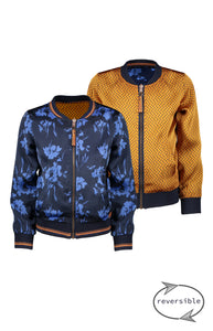 NONO Girls Blue and Gold Reversible Bomber Jacket