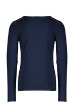 Load image into Gallery viewer, NONO Girls Navy Long Sleeve T Shirt With Sequin Logo