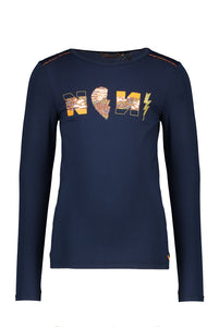 NONO Girls Navy Long Sleeve T Shirt With Sequin Logo